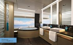 Norwegian Cruise Line Breakaway 2-Bedroom Family Villa Bathroom #Travel #Cruise #Breakaway #Haven