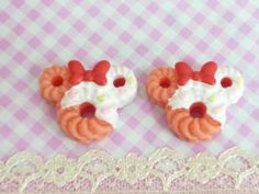 2 pcs Mouse Doughnuts with Cream and Bow cabochons by forestdiy