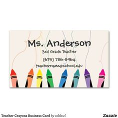 Colored pencils teachers business card colored pencils business shop teacher crayons business card created by oddowl cheaphphosting Gallery