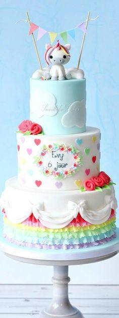Rainbow Cake with Unicorn