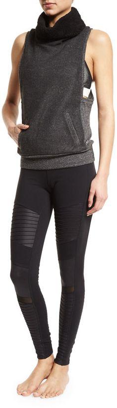 Alo Yoga Wisteria Sports Bra Top, Natural/Glossy Black