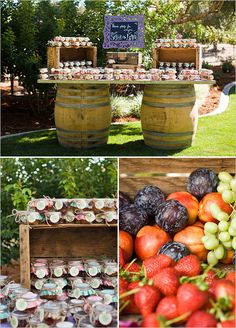 favors table with wine barrels and boxes