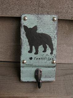 Vintage Look French bulldog dog leash holder // by bonnielecat, $42.00