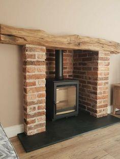 Brick Fireplace Log Burner, Exposed Brick Fireplaces, Cottage Fireplace, Inglenook Fireplace, Fireplace Hearth, Home Fireplace, Fireplace Surrounds, Fireplace Design, Country Fireplace