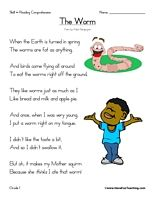 The Worm Poem – First Grade Reading Comprehension Test: Use the information in the story to answer the 5 comprehension questions. Answer Key Is Included.    Test Type: Poetry  Grade Level: First Grade    The Worm Poem | 1st Grade Reading Comprehension Test    Information: First Grade Reading Comprehension. 1st Grade Reading Comprehension Test. Poetry.