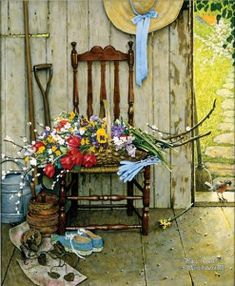 "Norman Rockwell (1894-1978), ""Spring Flowers,"" 1969. Oil on canvas, 30 3/8"" x 25"". Story illustration for ""McCall's,"" May 1969. Norman Rockwell Museum Collections. ©Norman Rockwell Family Agency. All rights reserved."