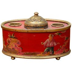 Chinoiserie - Red Decorated Ink Well