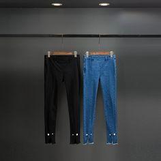 Dur Bonbon 2017 Spring New Pearl Split Skinny Jeans Women Cotton Solid Slim Fit Black Blue Denim Pencil Pants High Quality