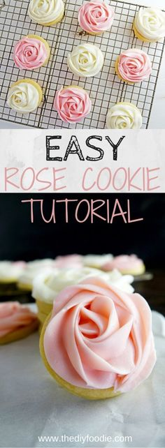 Sugar Cookies Learn how to make these beautiful Rose Sugar Cookies - so EASY PEASY!Learn how to make these beautiful Rose Sugar Cookies - so EASY PEASY! Flower Sugar Cookies, Rose Cookies, Iced Cookies, Cupcake Cookies, Cookie Favors, Heart Cookies, Cookie Recipes, Dessert Recipes, Icing Recipes