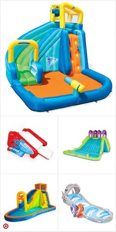 Kids Backyard Playground, Backyard For Kids, Backyard Water Parks, Cool Pool Floats, Inflatable Water Park, Bouncy House, Summer Fun List, Water Toys, Water Slides