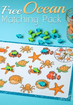 Your kids will love learning about ocean animals  with this free ocean matching pack. Such a fun activity to go along with an ocean theme!