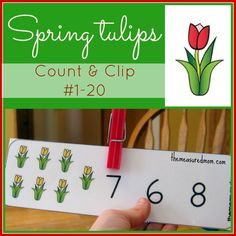 Printable Counting Activity for Preschoolers: Spring Tulips Count & Clip Cards freebie