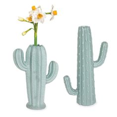 Cacti Vases: Add a hint of Southwestern flair to your décor with a cactus-shaped stoneware vases featuring a matte sage finish. Short Cacti 6 3/4'' L x 3 1/2'' W x 9 1/2'' H. Tall Cacti 6'' L x 3'' W x 11 3/4'' H.