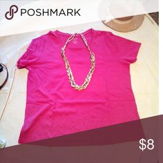 """Deep Old Rose color Tee Shirt/. Gently Used/ Semi U Neck line /  100% Cotton  With Satin. Trim around neck line.  /  No stains/or tears. / Gently Used Pullover in very good condition .           48"""". BUST AROUND.   ----   25"""" L.  Neck to Hem White Stag Tops Tees - Short Sleeve"""