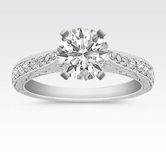 Vintage Cathedral 14k White Gold Engagement Ring with Engraving and Pavé Setting with Brilliant Round Diamond