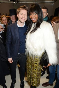Christopher Bailey and Naomi Campbell at Burberry Prorsum Autumn 2015 front row