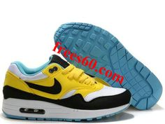frees60.com for half off nike shoes $58.72 , Womens Nike Air Max 1 Citrine Yellow Gridiron White Shoes