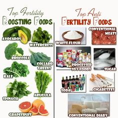 Top Fertility Foods and Top Bad Fertility Foods lol now I know what to avoid