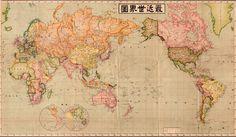 1914 Japanese World Map Art Print by Elegant Chaos Gallery - X-Small World Map Art, World Map Decal, World Map Wallpaper, Paris Map, Old Maps, Poster Prints, Art Prints, Pop Posters, Japanese Language