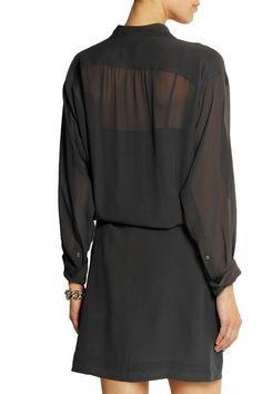 Dark-gray silk-georgette Concealed snap fastenings along front 100% silk; skirt lining: 100% silk Dry clean