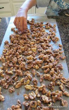 Candied walnuts! Super easy and just 6 ingredients: walnuts, sugar, cinnamon, salt, vanilla and milk