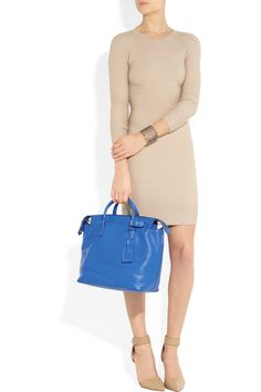 Love the nude dress w/ bright blue bag!  Reed Krakoff | Gym 1 textured-leather tote | NET-A-PORTER.COM