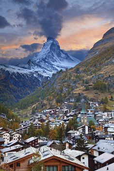 The Matterhorn taken from the balcony of the Hotel Beausite, Zermatt. Stunning view, evocative mountain. Great hiking area and skiing resort.