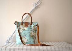 Bright Mint Bag Mint World Map Bag Leather Canvas Tote Tan Leather Crossbody Bag World Map Diaper Bag Handbag Purse World Map Printed (94.00 USD) by BarbaLeatherStudio