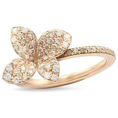 Pasquale Bruni 18K Rose Gold Secret Garden Four Petal Flower Pave... ($2,825) ❤ liked on Polyvore featuring jewelry, rings, rose gold flower ring, pave set diamond ring, 18k rose gold jewelry, pink gold rings and 18 karat ring