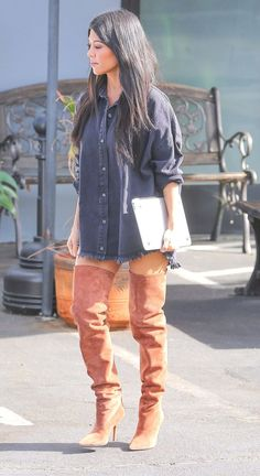 Kourtney Kardashian in boots Kourtney Kardashian, Kardashian Family, Kardashian Style, Fall Outfits, Cute Outfits, Fashion Outfits, Womens Fashion, Kendall Jenner Outfits, Autumn Winter Fashion