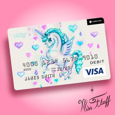 Unicorn Pegasus super cute visa debit card! Original Art by Claudette Barjoud, a.k.a Miss Fluff. www.missfluff.com#unicorns #pegasus #missfluff #unicornart Debit Card Design, Free Business Card Design, Name Card Design, Free Business Card Templates, Free Business Cards, Custom Business Cards, Professional Business Cards, Baby Unicorn, Unicorn Art