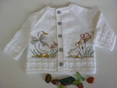 Knitting pattern.White cardigan with Ducklings.P013