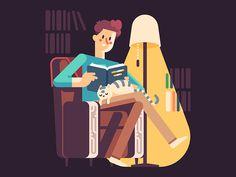 Reading Man by July Pluto #Design Popular #Dribbble #shots