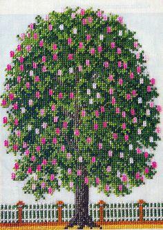 images attach c 6 93 628 Cross Stitch Fruit, Cross Stitch Tree, Cross Stitch Flowers, Counted Cross Stitch Patterns, Cross Stitch Charts, Cross Stitch Designs, Cross Stitch Embroidery, Cross Tree, Cross Stitch Landscape