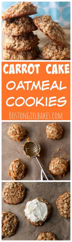 Carrot Cake Oatmeal Cookies- it's one of my favorite cakes in cookie form with cream cheese icing!
