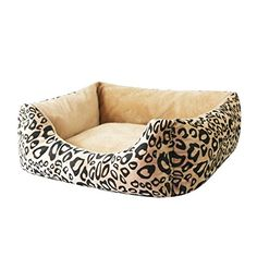 Hollypet Big Pet Bed Lux Plush Rectangular Quality Dog Bed Removalbe Washable Cover Zippered, Leopard, X-Large (39357inch)