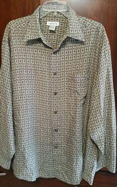 Men s LARGE Claiborne Long Sleeve Button-down Green/Brown Paisley Shirt