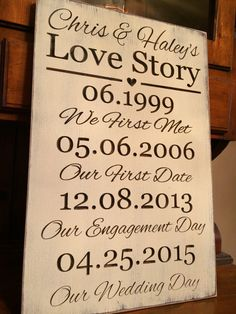 "Personalized Carved Wooden Sign - ""Our Love Story"" - Wedding by HayleesCloset on Etsy Wedding Date Sign, Our Wedding, Rustic Wedding, Wedding Stuff, Dream Wedding, Wedding Ideas, 1 Year Anniversary Boyfriend, 25th Anniversary, Love Story Wedding"