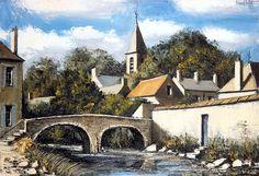Bernard BUFFET ( 1928 - 1999 ) - Peintre Francais - French Painter Le pont à Saches