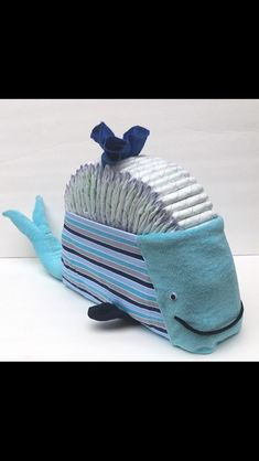 SALE Nautical diaper cake, Ahoy its a boy, Whale diaper cake, under the sea baby shower, diaper centerpiece, unique baby gift, unique diaper - $52.65 USD