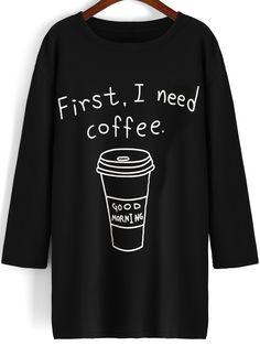 T-shirt long important café col rond -noir 12.16