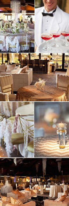 Details like draped pearls, Kir Royals, chandeliers, swanky white leather furniture, creative floral and gorgeous linens made our Evening with Gatsby event jaw dropping gorgeous! Phoenix Bride and Groom, Katrina Wallace Photographers, Tres Chic Events #gold #Blush #Gatsby #Wedding #decor