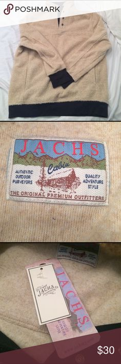 Jachs pullover This is NWT.  Jachs light tan (cream)with dark blue accents pullover.  Size M.  Armpit to armpit-24 in.  Shoulder to hem- 28.5 in Jachs Jackets & Coats Performance Jackets
