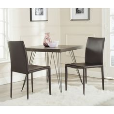 Safavieh Karna Brown Bonded Leather Dining Chair (Set of 2) - Overstock™ Shopping - Great Deals on Safavieh Dining Chairs