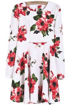 White Long Sleeve Floral Ruffle Dress US$33.00