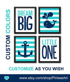 dream big little one nautical nursery art baby nursery decor new baby gift whale anchor baby boy nursery baby boys room boy nursery ideas by PinkeeArt, $29.00