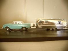63 Fairlane W/Airstream Camper Trailer HO Slot Car Vintage Aurora Thunderjet Airstream Campers, Camper Trailers, Ho Slot Cars, Matchbox Cars, Tin Toys, Model Kits, Free Time, Toy Story, Scale Models