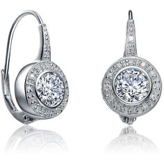 Collette Z Sterling Silver Clear Cubic Zirconia Leverback Earrings ($16) ❤ liked on Polyvore featuring jewelry, earrings, white, white earrings, rose earrings, long dangle earrings, cubic zirconia earrings and dangle earrings