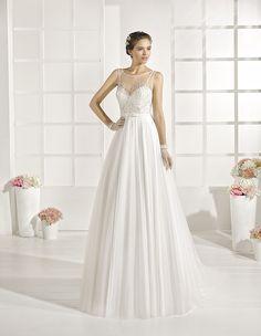 Yacarta - Beaded soft tulle dress, in ivory.