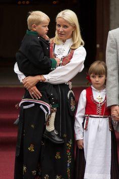 Prince Sverre Magnus of Norway Princess MetteMarit of Norway and Princess Ingrid Alexandra of Norway attend the Children's Parade during Norwegian...